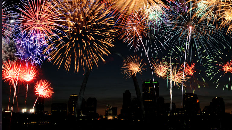 Fireworks over St. Louis, MO.