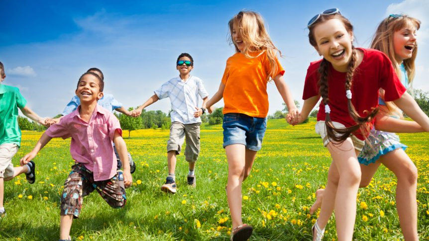 Kids Playing Outside During Summer